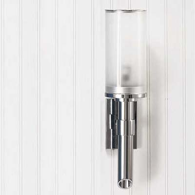 light, chrome stem and frosted glass cylinder