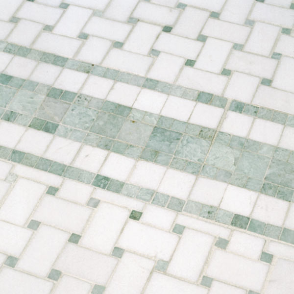 basket-weave ceramic tile, bathroom before and after