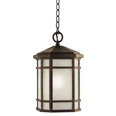 rustic bronze lantern fits a more casual entry