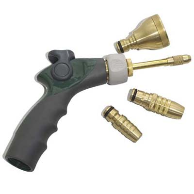quick change spray head for hose displaying many alternative nozzles