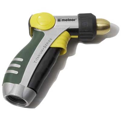 this titanium series hose nozzle from melnor features a thumb-controlled valve and an adjustable spray tip