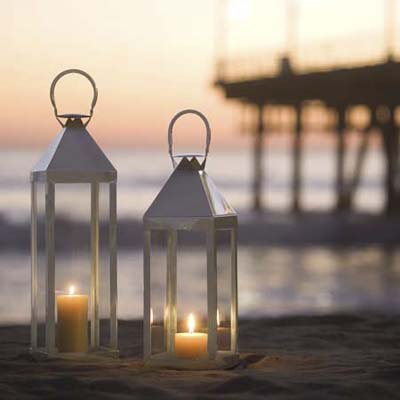 glass lanterns on the beach
