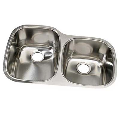 two stainless steel sink bays let you wash and rinse
