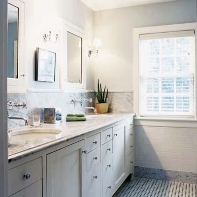 master bath black white tile