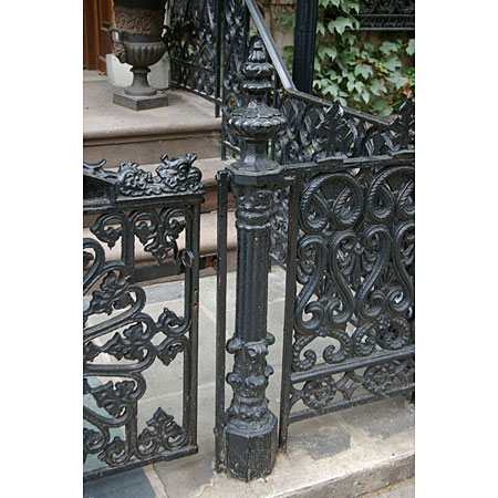 Tall and Thin.  Elaborate but tasteful ironwork.