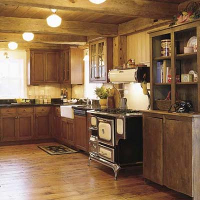 kitchen in adapted barn that sits near an airfield