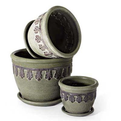 3 garden pots