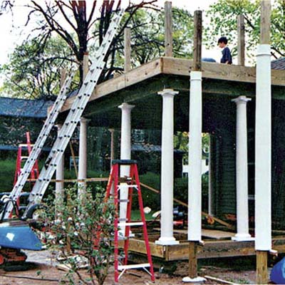 the new screen-in porch being erected