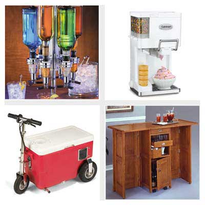 liquor shot dispensers, soft-serve ice cream maker, collapsible bar, cooler on a tricycle
