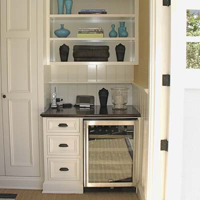 small pantry space with undercounter refrigerator