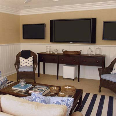 3 flat-screen televisions mounted side-by-side on the wall