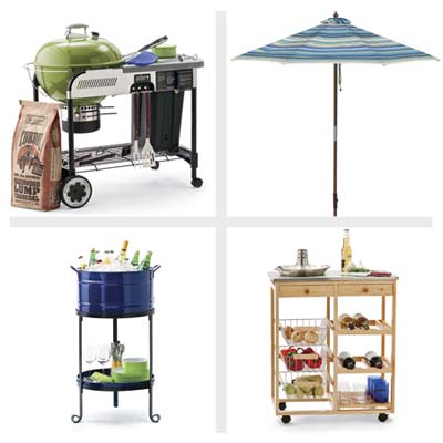 grill with charcoal and tools, kitchen cart, beverage tub and patio umbrella