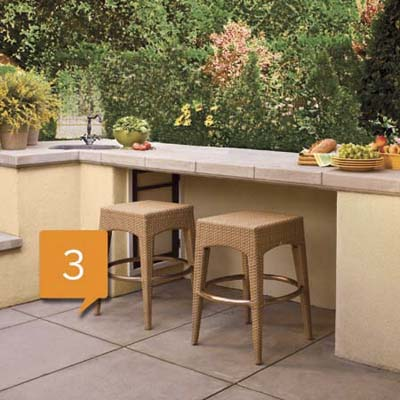 outdoor kitchen floor space and extra counter space