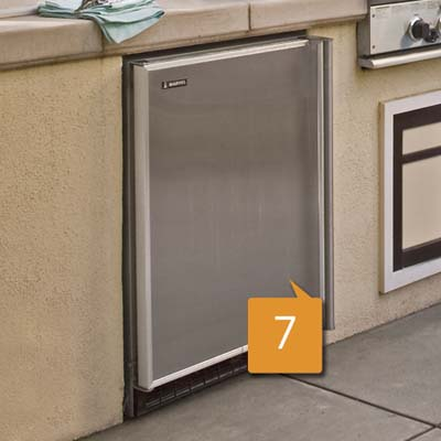 under-the-counter refrigerator for an outdoor kitchen