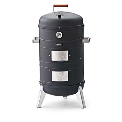 a Meco water smoker for meat fish or cheese used in outdoor grilling
