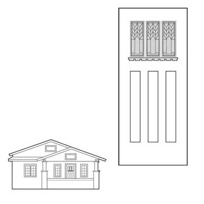 craftsman style white oak slab door with Frank Lloyd Wright–style windows and dentil molding