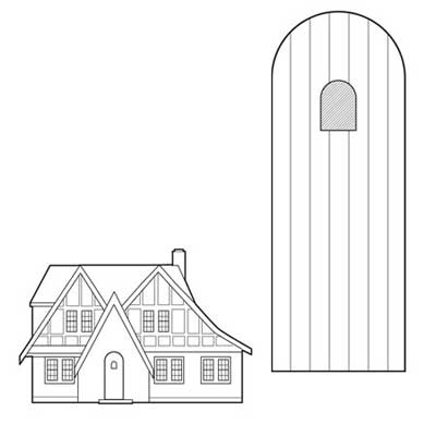 tudor revival slat-style African mahogany slab door