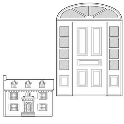 colonial revival prehung five-panel Spanish cedar door surrounded by true divided lights