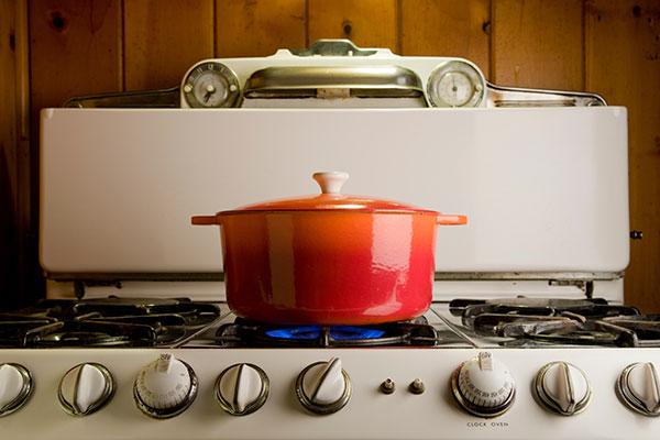 pot on a lit stove