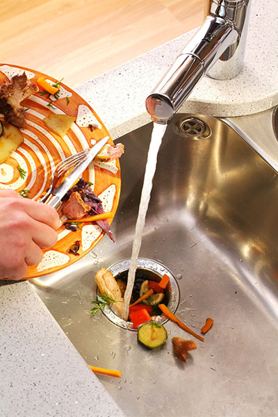 hand scraping what's left on a used dish into a sink with disposal unit, holiday disaster