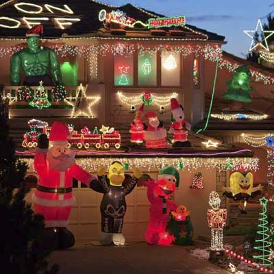 over-the-top christmas lights and decorations