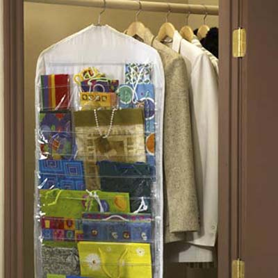 hanging storage container for holiday gift wrap