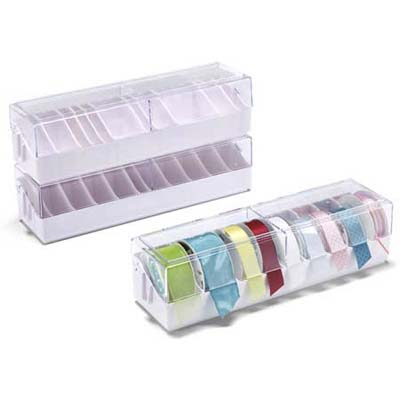 plastic ribbon storage boxes and dispensers