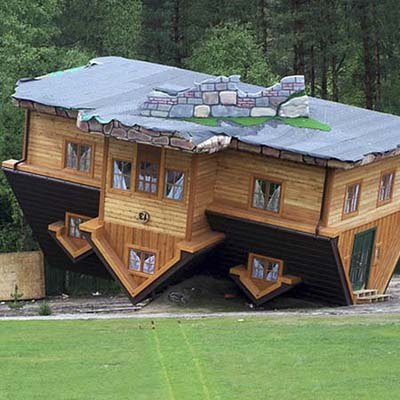 a house built upside-down in Szymbark, Poland