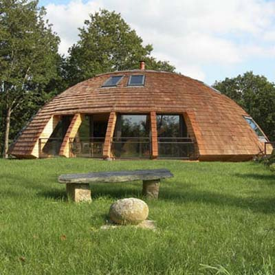 a biconvex, dome-shaped house designed to be eco-friendly and safe
