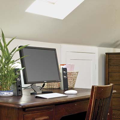 skylight above a home office in the remodeled attic