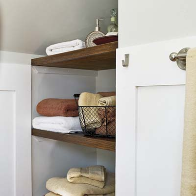 open shelves from attic to bedroom with help from the