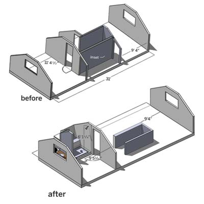 sketch from computer software of attic remodel