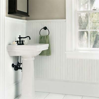 beadboard wainscoting ties together a bathroom