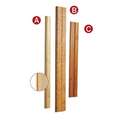 display of three types of wainscoting boards to use as sticks