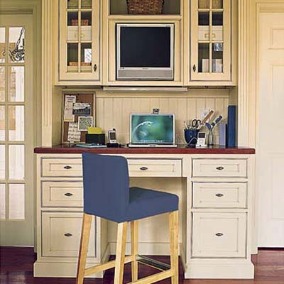 home office desk chair and computer