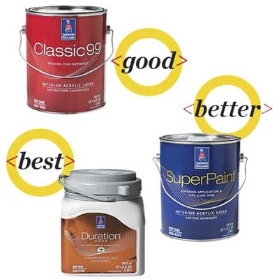 three cans of sherman-williams paint to compare for quality
