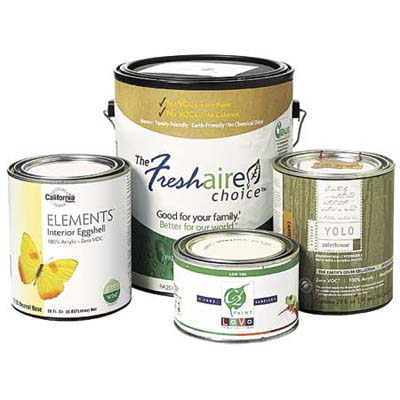 collection of low or zero v o c cans of paint