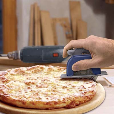 a circular saw designed to cut a pizza