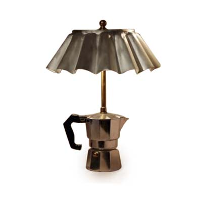 an old coffee-maker converted into a lamp
