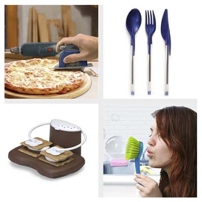 a pizza cutter made to look like a circular saw, four magnets that look like screws, pens with plastic eating utensils as caps, a