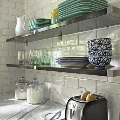 sleek open kitchen shelves