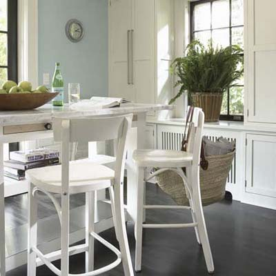 marble-topped kitchen table