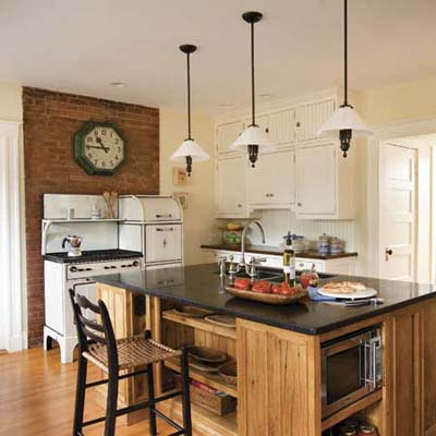 kitchen island in vintage kitchen