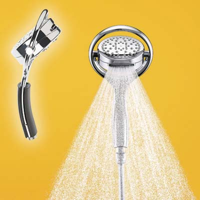 kohler versitile shower head shown in two angles
