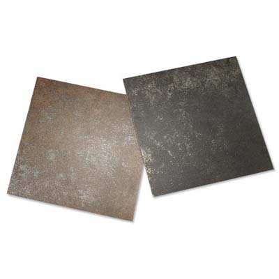 two light-reflecting dal-tile metal floor tiles