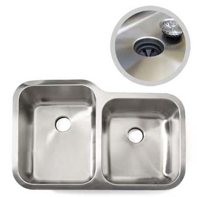 seamless stainless sink shown with an insert detailing an installed seamless sink with stopper