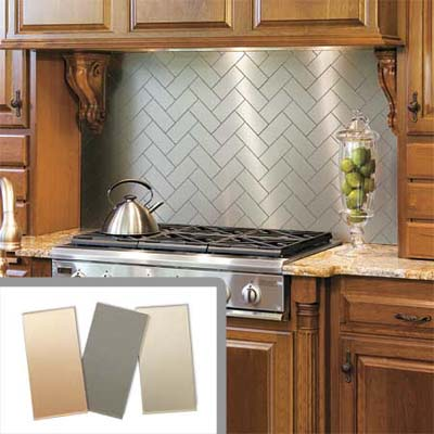 kitchen stove with metallic peel and stick backsplash tiles installed