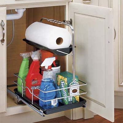 grab and go cleaning caddy installed in a cabinet