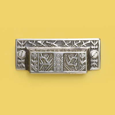 Japanese patterned antiqued nickel bin pull