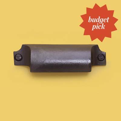 Craftsman-style cast iron bin pull